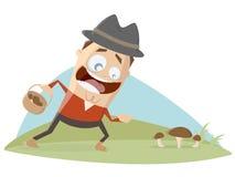 O homem afortunado encontra cogumelos ilustração stock