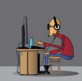 O homem & o computador Foto de Stock Royalty Free