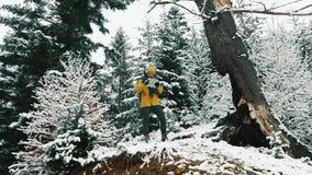 O homem anda através da floresta fria do inverno coberta com a neve video estoque