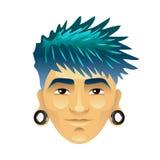 O homem asiático com cabelo e túneis azuis nas orelhas isolou o vetor ilustração royalty free