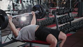 O homem atlético considerável executa a imprensa de banco no banco no gym vídeos de arquivo