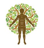 O homem atlético do vetor criado usando a árvore verde orgânica sae dow ilustração do vetor