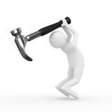O homem balanç o martelo do braço no fundo branco ilustração do vetor