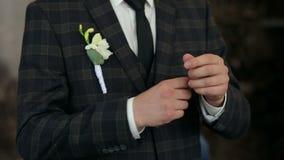 O homem bem sucedido no terno quadriculado marrom endireita suas luvas, close-up vídeos de arquivo