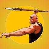 O homem brutal dos desenhos animados aponta guardar uma lança em sua mão Fotos de Stock