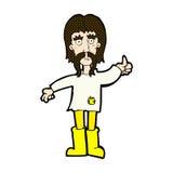 o homem cômico da hippie dos desenhos animados que dá os polegares levanta o símbolo Imagens de Stock