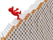 O homem cai dos cigarros (o trajeto de grampeamento incluído) Fotografia de Stock