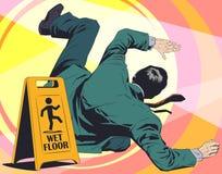 O homem cai no assoalho molhado Sinal de aviso Ilustra??o conservada em estoque ilustração stock