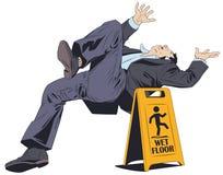 O homem cai no assoalho molhado Sinal de aviso Ilustra??o conservada em estoque ilustração do vetor