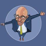 O homem calvo dos desenhos animados em um terno obstrui a maneira Foto de Stock Royalty Free