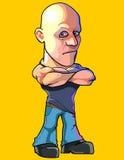 O homem calvo sério dos desenhos animados que está com braços cruzou-se na caixa Fotos de Stock