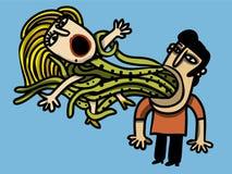 O homem captura a mulher Foto de Stock