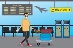O homem caucasiano dos desenhos animados o passageiro rola os wi do trole do aeroporto ilustração do vetor