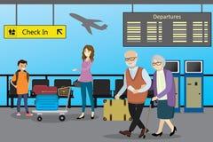 O homem caucasiano dos desenhos animados o passageiro rola os wi do trole do aeroporto ilustração stock