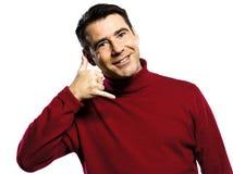 O homem chama-me gesto Fotos de Stock Royalty Free