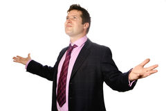 O homem com ambos os braços largos abre foto de stock