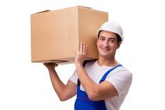 O homem com as caixas isoladas no branco Imagens de Stock