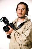 O homem com a câmera Fotos de Stock