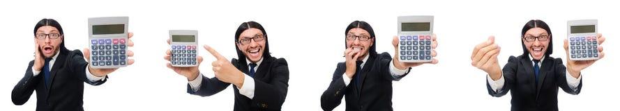 O homem com a calculadora isolada no branco foto de stock