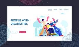 O homem com desordem física senta-se na cadeira de rodas com amigos ao redor, grupo de Mates Making Selfie Outdoors Amizade, rela ilustração royalty free