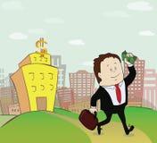O homem com dinheiro vai do banco Conceito Fotos de Stock