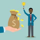 O homem com ideia obtém o dinheiro ilustração royalty free