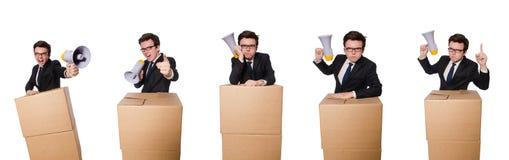 O homem com o altifalante na caixa Imagens de Stock