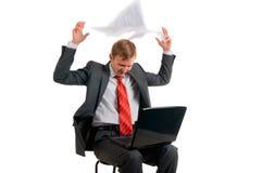 O homem com o computador Fotografia de Stock Royalty Free