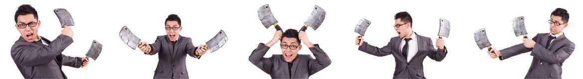 O homem com o machado isolado no branco Foto de Stock Royalty Free