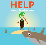 O homem com os tubarões na ilha Imagens de Stock