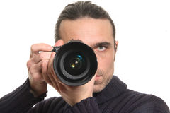 O homem com uma câmera Fotos de Stock