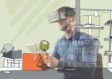 o homem com vidros 3D e a tabuleta sobrepõem com as linhas novas do escritório Imagens de Stock
