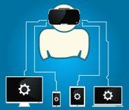 O homem com vidros da realidade virtual é conectado aos dispositivos Fotos de Stock Royalty Free