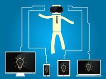 O homem com vidros da realidade virtual é conectado aos dispositivos Foto de Stock Royalty Free