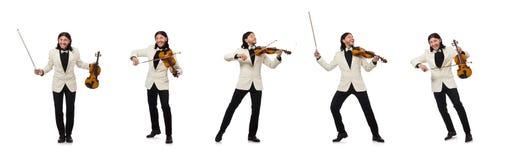 O homem com o violino que joga no branco imagens de stock royalty free