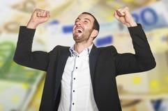 O homem comemora o vencimento imagens de stock royalty free