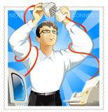 O homem conecta a impressora & o computador ilustração do vetor