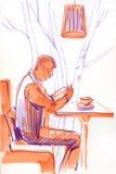 O homem considerável feliz que lê um livro na loja do café relaxa o tempo no feriado, cor do estilo do moderno Tração da mão do e ilustração stock
