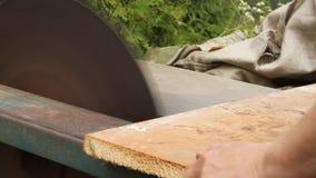 O homem corta a madeira na serra circular video estoque