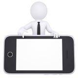 o homem 3d branco aponta um dedo ao smartphone Imagens de Stock Royalty Free