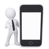 o homem 3d branco aponta um dedo ao smartphone Fotos de Stock Royalty Free