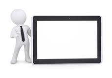 o homem 3d branco aponta um dedo em um PC da tabuleta Imagem de Stock Royalty Free