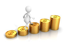 O homem 3d branco pisa na carta de barra das moedas do dólar do sucesso Imagens de Stock Royalty Free