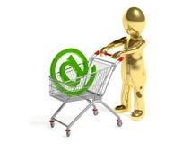 o homem 3d com correio assina dentro o carrinho de compras Imagem de Stock