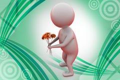 o homem 3d dá a ilustração da flor Foto de Stock Royalty Free