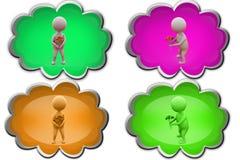 o homem 3d dá o ícone da flor Fotografia de Stock Royalty Free