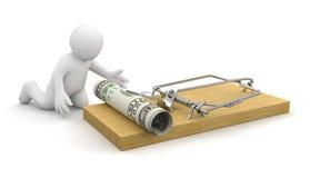 o homem 3D está a ponto de travar o dinheiro colocado na ratoeira (o trajeto de grampeamento incluído) ilustração do vetor