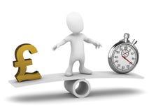 o homem 3d pequeno equilibra o tempo e o dinheiro ilustração do vetor