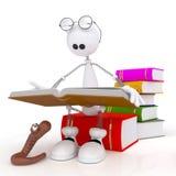 O homem 3D pequeno lê o livro. Fotos de Stock