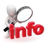 o homem 3d pequeno olha a informação através de uma lupa Fotografia de Stock